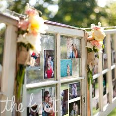 Here's a great idea for displaying photos of the two of you growing up, honor your family and friends, and show off those engagement pictures!  Display it on the patio at Tapestry House!