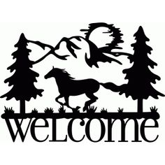 Silhouette Design Store: welcome sign horse run