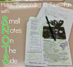 annotate with green colored pencils and the SNOTS method