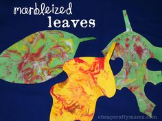 """""""L"""" is for leaf (marbleized leaves)!"""