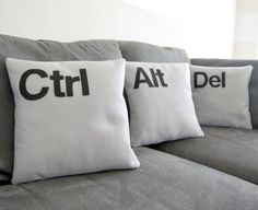 Ctrl  Alt  Del  Three Pillow Set Geeks Need by diffractionfiber, $55.00