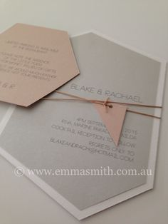 Geometric wedding invitation suite. Colours of nude/silver/white metallic. Prices and enquiries to info@emmasmith.com.au