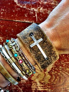 Sideways Cross Leather Cuff Bracelet Bohemian by ThreeBirdNest, $48.00