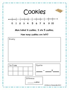 Subtraction Word Problems - Solve using number line, drawings, ten frame, and equation.  $
