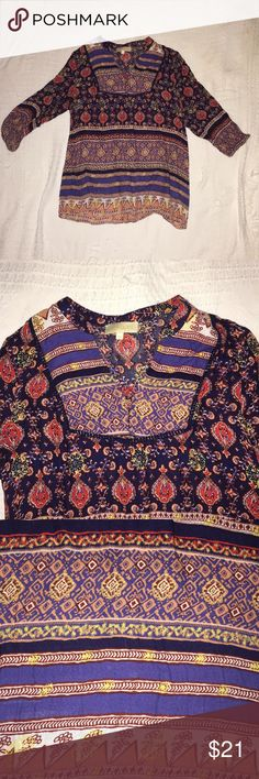 Whimsical boho blouse In great condition and sooo soft and cozy. I tried to show in pictures that there is a tiny run in it but it's not even noticeable at all and looks perfect on. lucy & laurel Tops Blouses