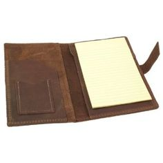 """Refillable Genuine Rustic Leather Portfolio for 5""""x 8"""" Notepads - Handmade in the USA - Dark Brown (Office Product)"""