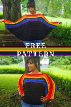 Oversize Crochet Batwing Sweater That's Fall Ready! > Littlejohn's Yarn - - It's still warm out but I'm praying for cooler weather. That's why I created this rainbow oversize crochet batwing sweater for the fall. Flattering for all. Crochet Shawl, Crochet Yarn, Easy Crochet, Crochet Top, Crochet Jumpers, Crochet Sweaters, Knitting Patterns, Crochet Patterns, Mode Crochet