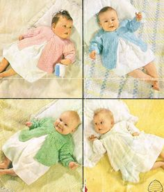 four designs baby matinee coat vintage baby knitting by Ellisadine