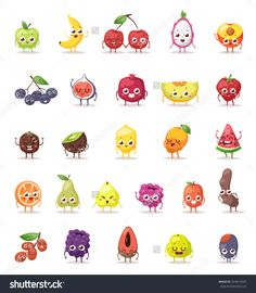 Funny Fruit Characters Cartoon Isolated And Fruit Characters Big Set. Fruit…