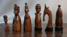 Chess set ca. 20th century. From Africa in a hard wood.