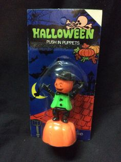 Halloween Vintage Pumpkin Scarecrow push puppet - 1970s by drtonguestoys on Etsy