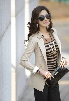 Elegance OL Style Double Breasted Long Sleeve Slim Blazers For Women (APRICOT,M) China Wholesale - Sammydress.com