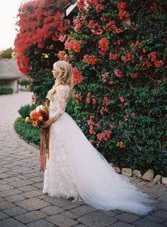 beautiful lace wedding dress - love the tulle train!