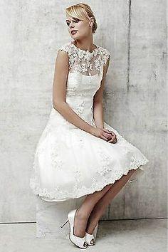 Custom Lace Bride Wedding Gown Bridal Short Dress Size 4-6-8-10-12-14-16-18-20++