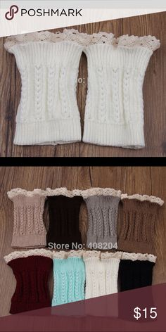 "🆕 Short Boot Toppers 👢👢👢 Wear with your tall boots or booties.  Decorative lace top.  Total length approx. 7"".  Limited qualities available in 8 colors.  Black, white, gray, dark brown, mocha, beige, blue, cranberry. Accessories Hosiery & Socks"