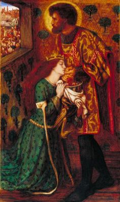 """model Elizabeth Siddal : """"St George and Princess Sabra """" , 1862 , by Dante Gabriel Rossetti . watercolour on paper , 52,4 x 30,8 cm , Tate Britain , London .   Elizabeth Siddal (1829-1862)  modelled for Princess Sabra, only days before taking an overdose of laudanum."""