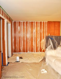 With this guide you can learn how to paint wood paneling the color you always dreamed of! The best part: NO SANDING REQUIRED! Paneling to wall Wood Paneling Makeover, Painting Wood Paneling, Paneling Ideas, Cover Wood Paneling, Remodeling Mobile Homes, Up House, Home Repairs, Trendy Home, Basement Remodeling