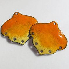 Unique Jewelry Findings, Handmade Chandelier Earring Enamel Jewelry Components Orange Yellow. $20.00, via Etsy.