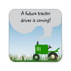 Green Tractor Baby Shower Envelope Seal sticker