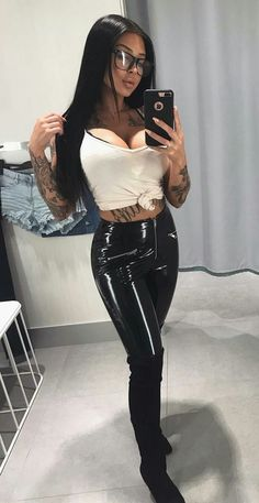 """theultimatetaboo: """"Tight shiny pants and suede """" Leder Boots, Vinyl Leggings, Latex Pants, Latex Girls, Fetish Fashion, Sexy Latex, Sexy Outfits, Sexy Women, Clothes For Women"""