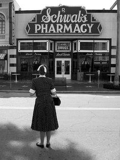 Schwab's Pharmacy on Hollywood Boulevard. Note the stars on the sidewalk.