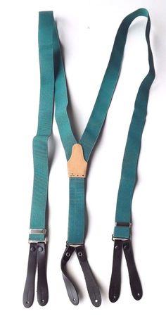 "VINTAGE Button On Braces Green Elasticated 1"" Straps 26 - 38"" Long FREE P&P"