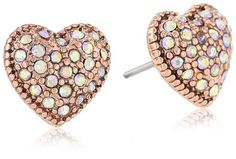 "$25.00 Betsey Johnson ""Iconic Vintage Rose"" Crystal Heart Stud Earrings: Jewelry: Amazon.com"