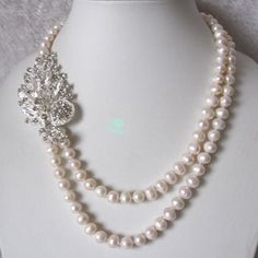 Pearl Necklace - 19-22 inch 8-9mm White Freshwater Pearl Necklace X2327 - Free shipping. $21.00, via Etsy.