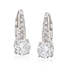 "A dash of CZ accents, .29 ct. t.w., adds a little more spark to the classic styling of these 3.00 ct. t.w. round brilliant-cut CZs earrings. Hanging length is 5/8"". Leverback, sterling silver earrings. <i>CZ weights are diamond equivalents.</i> Free shipping & easy 30-day returns. Fabulous jewelry. Great prices. Since 1952."