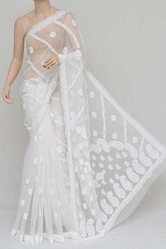 White Colour Half Chhadi Jaal Hand Embroidered Lucknowi Chikankari Saree (With Blouse - Georgette) Saree Dress, Saree Blouse, Sari, Tussar Silk Saree, Georgette Sarees, Indian Fashion, Saree Fashion, Saree Shopping, Half Saree