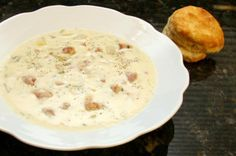 Andouille sausage spices up this flavorful potato soup. A potato soup with spicy smoked sausage, green onions, and celery, along with potatoes and seasonings.