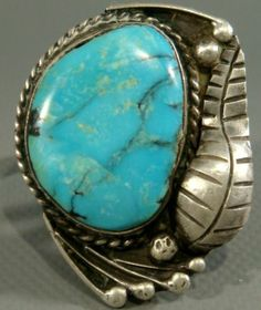 Large Vintage Navajo Old Pawn Stormy Mountain Turquoise Sterling Silver Ring | eBay