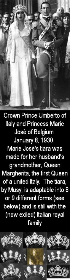 Marie Jose of Belgium and Umberto of Italy, 1930 - the Musy tiara Royal Crown Jewels, Royal Crowns, Royal Tiaras, Royal Jewelry, Tiaras And Crowns, Royal Brides, Royal Weddings, Circlet, The Crown
