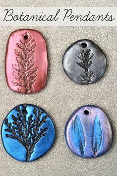 DIY Stamped Clay Botanical Pendants #diywedding