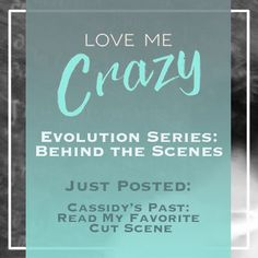 Want to know the whats and what nots of the contemporary romance Love Me Crazy by Camden Leigh? Access Week 9 of the Evolution Series: Behind the Scenes of Love Me Crazy and learn about Cassidy's past with a cut excerpt. The series contains never before seen cut scenes, character studies and why certain elements were chosen for Cassidy & Quinn's new adult southern love story. This book is available for download at Amazon http://amzn.to/2d29glZ  Available on audible.
