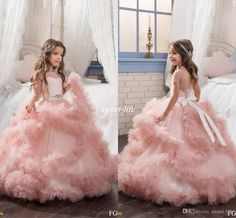 Blush Ball Gown Short Sleeves Flower Girl Dresses Crystals Puffy Tulle Sash Backless 2017 Cheap Girls Pageant Dress Little Child Formal Wear Flower Girl Dresses Cheap Girls Pageant Dresses Online with 104.0/Piece on Sweet-life's Store | DHgate.com