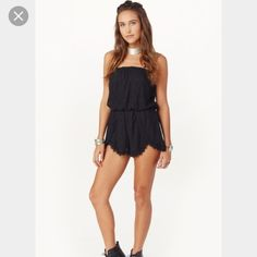 Free people tahlia romper nwt- too small for me Black free people tahlia romper xs Free People Dresses Mini