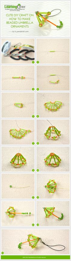 Cute DIY Craft on How to Make Beaded Umbrella Ornaments