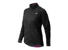 Mother Nature can't keep you from your run when you're wearing our women's Windblocker Jacket with reflective front zip. This New Balance jacket has NB HEAT technology for the ultimate in warmth, stretch and breathability. And it's water and wind resistant from the top right down to the bottom and even your fingertips, with a dropped back hem and much-loved thumbhole hand mitts.