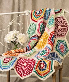 Free Crochet Pattern: Mandala Sampler Throw, from Red Heart.