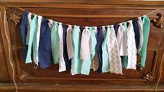 Navy, Aqua and Gray Rag Tie Garland great for nautical baby shower or beach wedding
