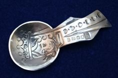 """An Elizabeth II sterling silver chased Caddy Spoon """"Queen of Hearts"""". Made by Bryony Knox, assayed in Edinburgh. Spoon Collection, Fun Cup, Queen Of Hearts, Elizabeth Ii, Edinburgh, Tea Cups, Jewellery, Sterling Silver, Nice"""