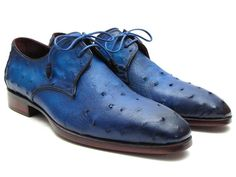 Exotic skin derby shoes for men Ocean colored genuine ostrich leather upper Purple burnished leather sole. Bordeaux leather lining. Leather wrapped laces with two eyelet  This is a made-to-order product. Please allow 15 days for the delivery. Because our shoes are hand-painted and couture-level creations, each shoe will have a unique hue and polish, and color may differ slightly from the picture.
