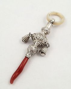 Antique Sterling Silver Baby Rattle/Coral Teether 1900