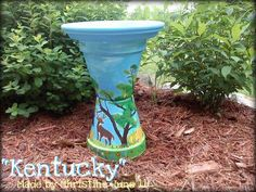 """Kentucky Deer"" birdbath made by Christine Alexander"