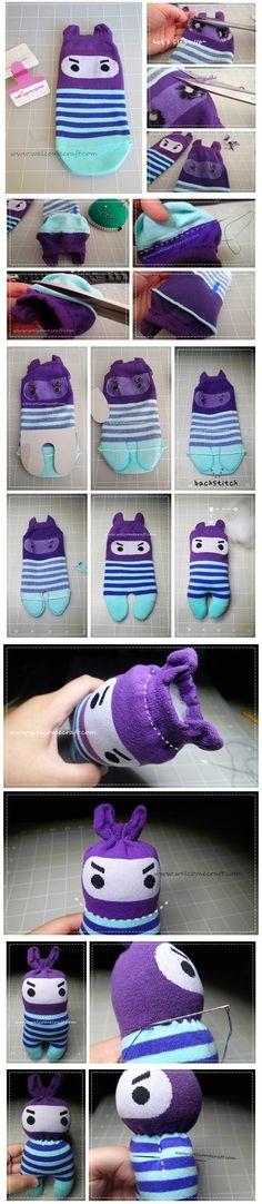 How to make Ninja Socks Dolls DIY step by step tutorial instruction | Welcome Craft