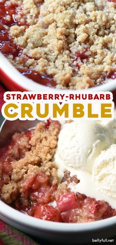 With a streusel topping and luscious fruit this Strawberry Rhubarb Crumble could not be easier or more perfect for a simple on-the-fly dessert. The post Strawberry Rhubarb Crumble appeared first on Win Dessert. Strawberry Rhubarb Recipes, Fruit Recipes, Desert Recipes, Sweet Recipes, Baking Recipes, Strawberry Rhubarb Crisp, Strawberry Rubarb Pie, Rhubarb Pie, Rhubarb Crisp Recipe
