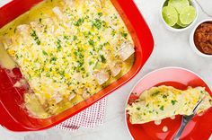 Recipe:+Sour+Cream+Enchiladas.  250 calories each; slightly less if almond milk and fat-free cheese is used