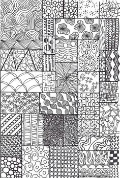 All sizes | zentangle sampler | Flickr - Photo Sharing! I made this one specifically for my junior students, grades 1-3. Sourced from all over and including some made up be me and my students.