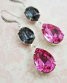 Hot Pink + Black Swarovski Earrings from EarringsNation Hot pink and black wedding Bridesmaid gifts